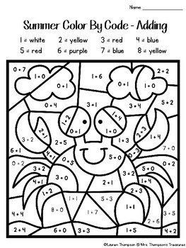 Summer Coloring Pages Color By Code Kindergarten by Mrs