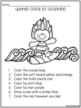 Summer Color by Listening (A Following Directions Activity