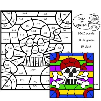 Addition Color by Number Math Mystery Pictures Pirate