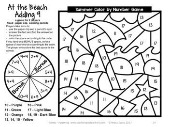 Summer Color by Number Addition Games: Color by Number