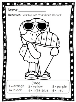 Summer Coloring Page Color By Number {Freebie} by