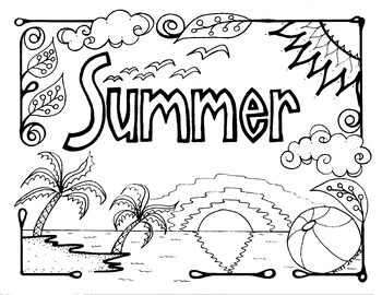 Summer Coloring Page Summer Fun Summertime back to school