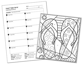 Coloring Activity Template: Summer Flip-Flops (Personal
