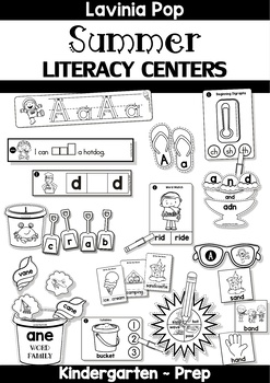 Summer Literacy Centers for Kindergarten B&W by Lavinia