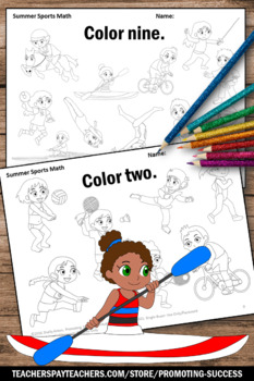 Summer Sports Theme, Kindergarten Counting Worksheets