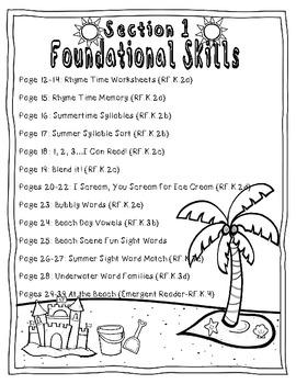 Summer Review Packet {Kindergarten Math & Literacy} by