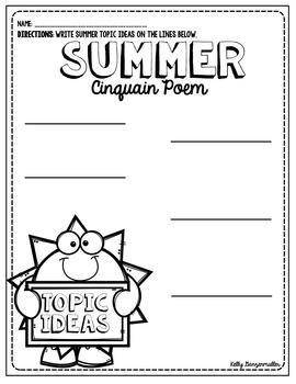 Summer Sun Cinquain Poem Craftivity and graphic organizers