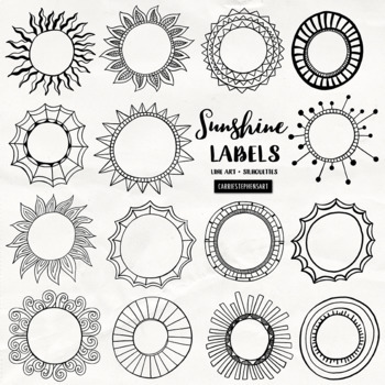 Sunshine Circle Frame and Labels Black Line Art, Round
