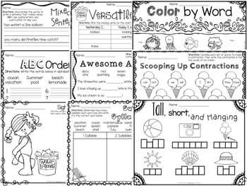 Summer Themed First & Second Grade Literacy Packet by The