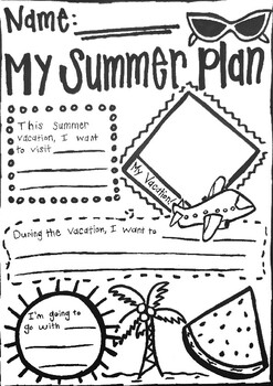 Summer Vacation Worksheet by Samantha's Art and ELL Store