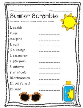 Summer Word Scramble by Mrs Elementary  Emily Cecil  TpT
