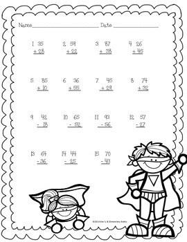 Superhero Math Worksheet Pack {1st & 2nd Grade} by Kim