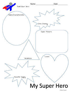 Super Hero Profile Sheet and Dialogue Writing Activity by