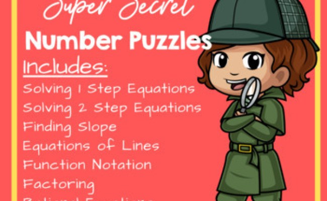 Super Secret Number Puzzles Algebra Edition By Teaching