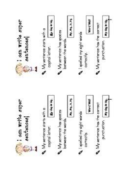 Super Sentence Success Criteria for Kindergarten by