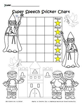 Super Speech Sticker Chart & Coloring Page_Package #1 by