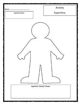 Superhero: Anxiety worksheet by Chuda's Counseling And