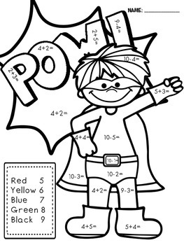 Superhero Color by Number- Math Facts by Life is Great in