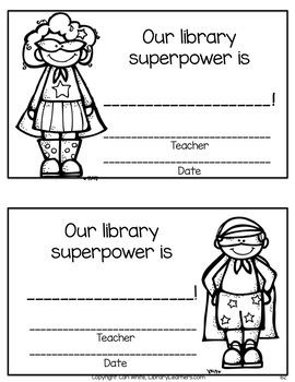 Superhero Library Award Cards by Library Learners by Cari