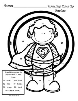 Superhero Rounding Color by Number (3.NBT.A.1) by Abby