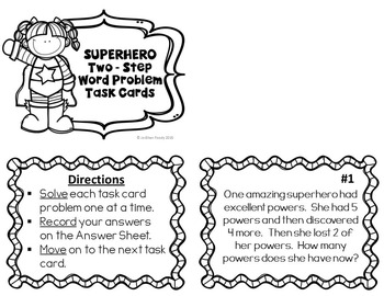 Two-Step Word Problems Task Cards by Love Believe Teach
