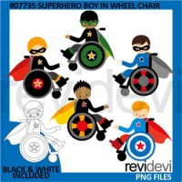 Superhero boy in wheelchair clip art by revidevi | TpT