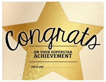 Superstar Achievement - Congratulations Certificate | TpT