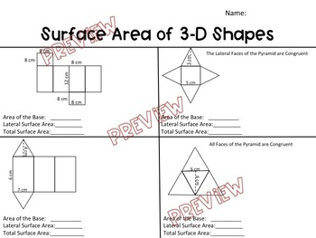 Surface Area of 3-D Shapes Worksheet by Hunka Learnin
