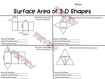 Surface Area of 3D Shapes Worksheet by Hunka Learnin' Love
