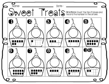 Sweet Treats Cupcake Ten Frame Number Match (Common Core