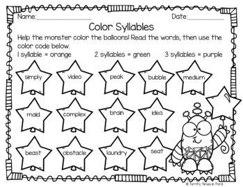 Syllable Patterns C + le, VCCCV, and CVVC (No Prep