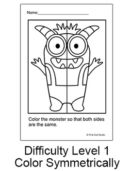 Monsters Symmetry Differentiated Worksheets: Fun for