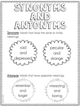 Synonyms and Antonyms Resources {Common Core Supplement (L