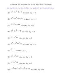 Synthetic Division of Polynomials- Worksheet with Answer ...