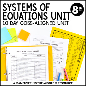 8th Grade Math Systems of Equations Unit: 8.EE.8 by