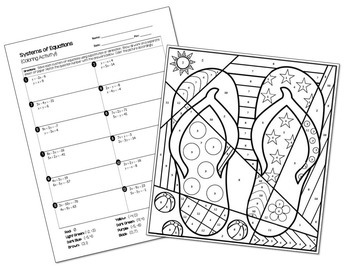 Systems of Equations Coloring Activity by All Things