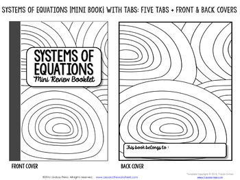 Systems of Equations Mini Tabbed Flip Book for 8th Grade