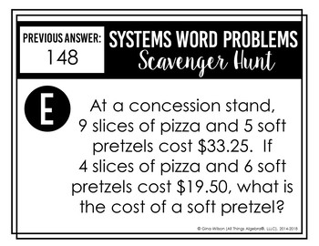 Systems of Equations Word Problems Scavenger Hunt by All