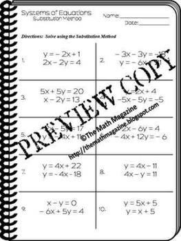 Systems of Equations Substitution Method Worksheet A.CED.3