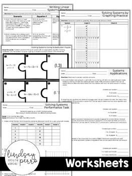 Systems of Equations Unit for Pre-Algebra by Lindsay Perro