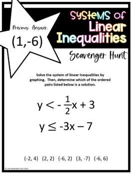 Systems of Linear Inequalities (Scavenger Hunt) by Lisa