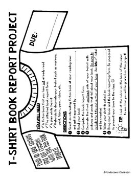 T Shirt Book Report Project & Rubric Set by Undercover