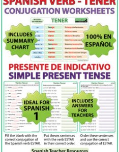 Tener spanish verb conjugation worksheets present tense also tpt rh teacherspayteachers