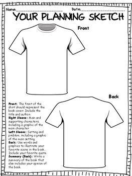 TSHIRT BOOK REPORT PROJECT w/ RUBRIC by Super Teacher