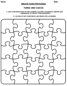 TURKS AND CAICOS Create your Own Puzzle Worksheet by