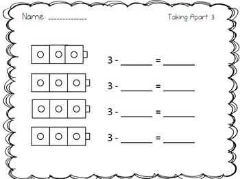 Taking Apart Numbers Practice Worksheets with connecting