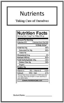 Taking Care of Ourselves: Nutrients (Week 2) Common Core