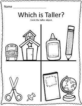 Tall & Short Back to School Measurement Worksheets by