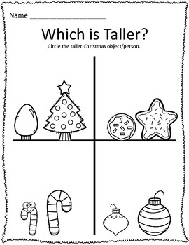 Tall & Short Christmas Measurement Worksheets by