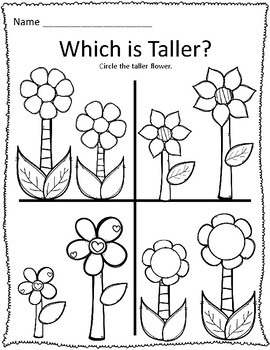 Tall & Short Spring Flower Measurement Worksheets by